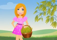 Woman with a mimosa basket. Illustration of woman with a mimosa basket royalty free illustration