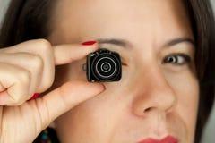 Woman with mini photocamera. Woman with mini dslr photocamera Stock Photos
