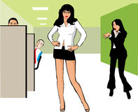 Woman with miniskirt at an office Royalty Free Stock Photography