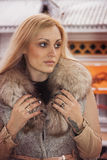 Woman in mink fur coat Royalty Free Stock Photos