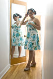 The woman in the mirror stock photos