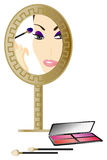 Woman in the Mirror. With make up accessories Stock Image