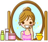 Woman in the mirror. This is an illustration of a woman in the mirror Royalty Free Stock Image