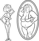 Woman mirror anorexia bw. Cartoon illustration of a woman mirror anorexia bw Stock Images