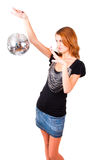 Woman and mirror-ball. Woman makes magical passes over the mirror-ball Stock Photo