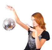 Woman and mirror-ball Stock Image