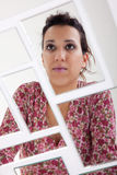 Woman on mirror, broken Royalty Free Stock Images