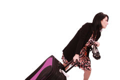 Woman missed his flight. Running with the shoes on hand and luggage late in the boarding royalty free stock image