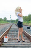 Woman missed the train. Stock Images