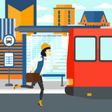 Woman missing bus. Royalty Free Stock Image