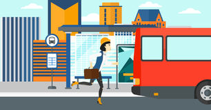 Woman missing bus. Royalty Free Stock Photo