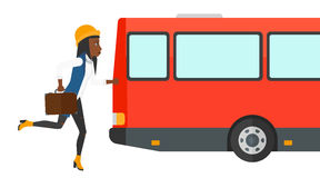 Woman missing bus. Stock Image