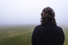 Woman Mist Field Stock Image