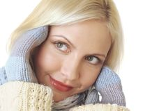 Woman with mittens Stock Photo