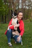 Woman and mixed breed dog portrait Royalty Free Stock Images