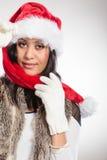 Woman mixed race santa helper hat portrait Stock Photo