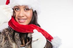 Woman mixed race santa helper hat portrait Stock Photos
