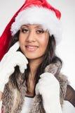 Woman mixed race santa helper hat portrait Stock Image