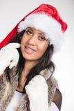 Woman mixed race santa helper hat portrait Royalty Free Stock Photography