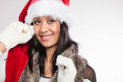 Woman mixed race santa helper hat portrait Royalty Free Stock Image