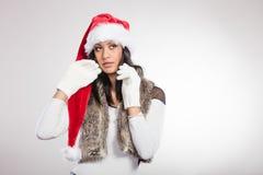 Woman mixed race santa helper hat portrait Royalty Free Stock Images