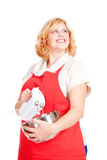 Woman with mixer and bowl Stock Photo