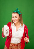 Woman with mixer Royalty Free Stock Photography
