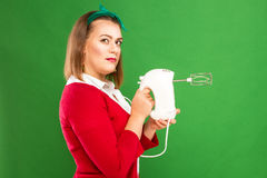 Woman with mixer Royalty Free Stock Images