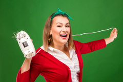 Woman with mixer Stock Images