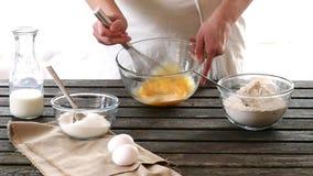 Woman mixes ingredients for sponge cake stock footage