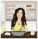 Woman mixing in the kitchen Royalty Free Stock Photography