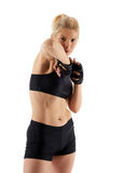 Woman MMA fighter throwing elbow Royalty Free Stock Photos