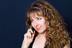 Woman with mobile Royalty Free Stock Images