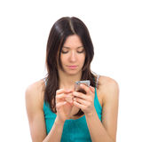 Woman with mobile cellphone finger touch the screen Stock Images