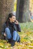Woman with a Mobile in a Forest in the Autumn Stock Image