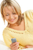 Woman with mobile phone Royalty Free Stock Photos