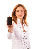 Woman and mobile phone Royalty Free Stock Photo