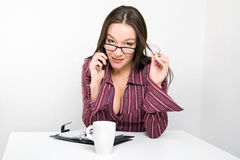 Woman with mobile phone and calendar Stock Photo