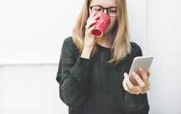 Woman Mobile Phone Connection Communication Concept Stock Photography