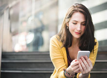 Woman Mobile Phone Connection Waiting City Technology Concept Stock Image
