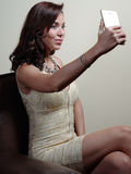 Woman with mobile phone Royalty Free Stock Photography