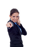 Woman on mobile phone pointing Stock Photo