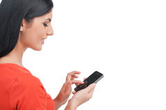 Woman with mobile phone. Royalty Free Stock Photos