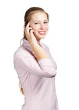 Woman with mobile phone on white background Stock Image