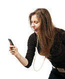 Woman with mobile phone yelling Royalty Free Stock Image