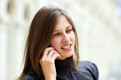 Woman with mobile telephone Royalty Free Stock Image