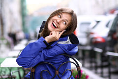 Woman with mobile telephone Royalty Free Stock Images