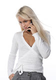 Woman with mobile telephone. Isolated Stock Photo