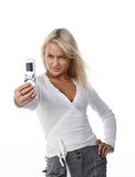 Woman with mobile telephone. Isolated Stock Images