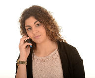 Woman with mobile telephone Stock Photography